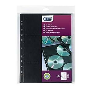 Elba Sachet de 10 Pochettes perforées pour rangement CD et DVD en polypropylène A4 Noir
