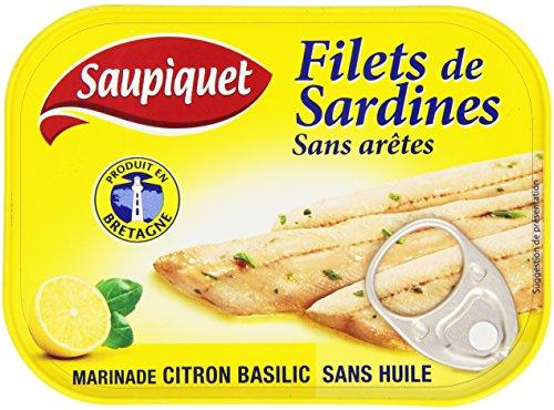 Saupiquet Filets de Sardines sans arêtes Marinade citron basilic sans huile 100 g - Lot de 5