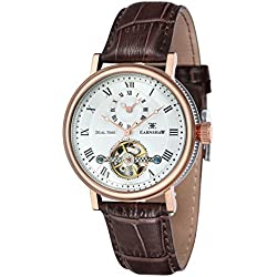 Thomas Earnshaw Men's Beaufort Dual Time Automatic Watch with White Dial Analogue Display and Brown Leather Strap ES-8047-05