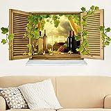 Bilderwelten 3D Wandtattoo - Wein Stillleben - Quer 1:2, Sticker 3D Wandtattoos Wandsticker Wandbild, Größe: 50cm x 100cm