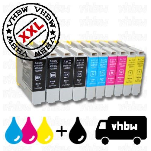 vhbw Lot de 10 Cartouches compatibles avec les appareils BROTHER LC1000/LC970