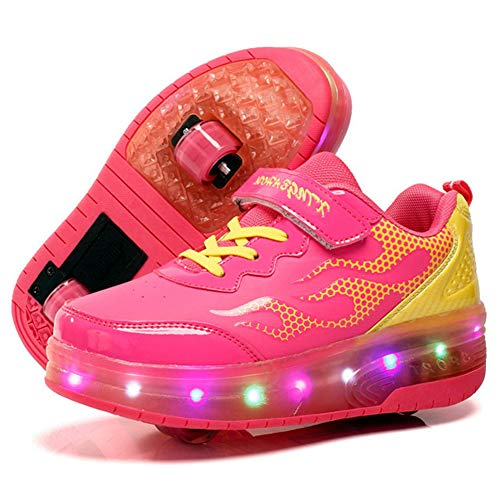 Recollect Kinder Schuhe mit Rollen Skateboardschuhe Skateboard Schuhe LED Roller Skate Schuhe Sneakers Turschuhe Laufschuhe Sportschuhe mit Rollen für Mädchen Jungen,Pink,34EU