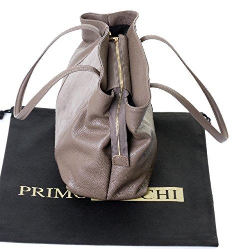 Primo Sacchi® italiano pelle martellata artigianalmente grande maniglia lunga tracolla bauletto, con pelle scamosciata pannello frontale tasca, include una custodia protettiva marca Beige