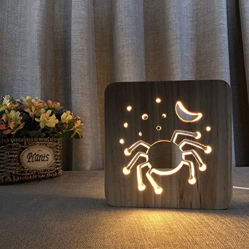 MJBOY 3D Lampe USB LED Nachtlicht Massivholzschnitzerei Hohl Kreative Tischlampe Schönes Geschenk Home Office Dekoration Spielzeug (Halloween-Spinne)