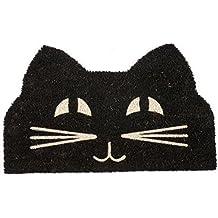Entryways Felpudo de fibra de coco con reverso de PVC antideslizante y cara de gato, negro/blanco