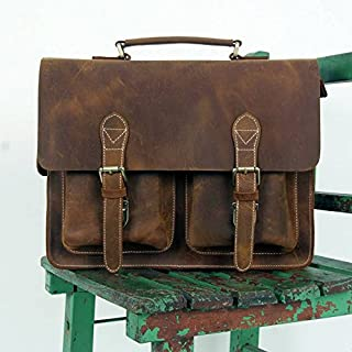 LEATHER ART & CRAFT ABB 18 Inch Vintage Handmade Leather Messenger Bag for Laptop Briefcase Satchel Bag