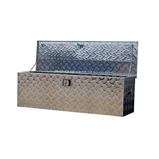 US PRO TOOLS LARGE ALUMINIUM CHEQUER PLATE JOB SITE BOX SAFE CHEST TOOL BOX VAN TRUCK