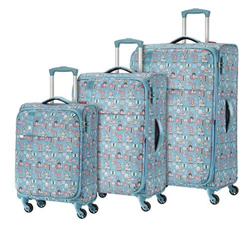 Travelite Lil'Ledy Buntes Reisegepäck/Rucksack/Kindertrolley/Handtasche/Reise Koffer-Set, 3 teilig, Weichschale, Hartschale, in Kawaii Optik, 76/66/55 cm, türkis