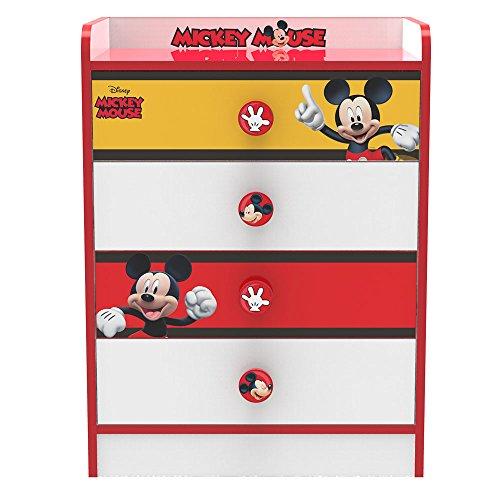 Stor - Commode avec tiroirs d'enfant   Mickey Mouse Stripes   Disney - Dimensions: 80,5 x 60 x 40 cm. -Plusieurs Personnages