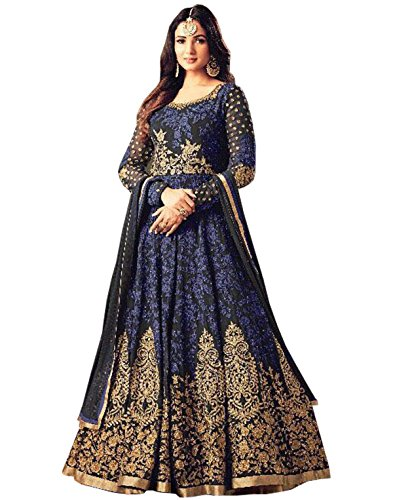 SareeShop Women's Embroidered Semi-Stitched Salwar Suit (Blue Suit)
