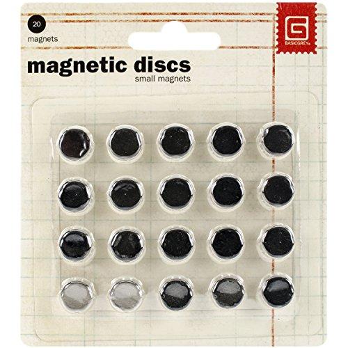 Basic Grey - Dischi magnetici, 1 cm, 20 pezzi, colore argento