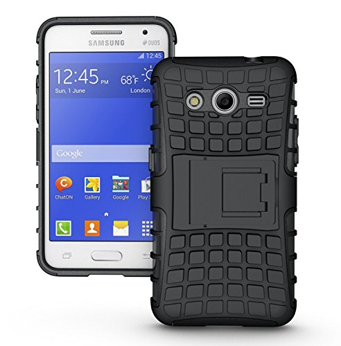MACC Defender Series Dual Layer Hybrid TPU + PC Kickstand Case Cover for Samsung Galaxy Core 2 / Core2 / SM-G355H / G355H - Black