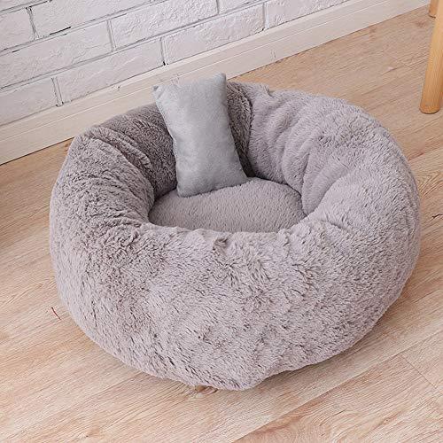 Komfortables und Warmes Kuschelbett,Rundes Donut-Haustierbett, für Vier Jahreszeiten,Kissen Tiefe Schlafen Geeignet Für Kleine Und Mittelgroße Hunde,Welpen Und Kätzchen-M-50 * 50 * 22 cm-grau -
