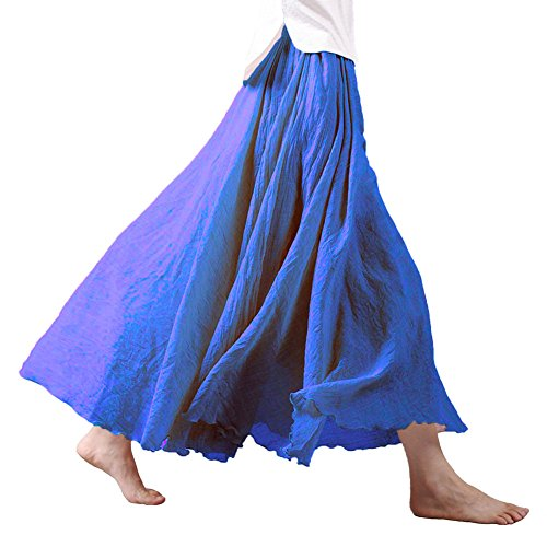 Tomwell Damen Frauen Baumwolle Leinen Double Layer Elastische Taille Langen Langer RockMaxi Rock Hohe Taille Langer Rock Blau 95CM -