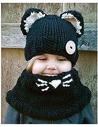 Queta - Gorro de Punto para niños, diseño de Orejas de Gato Negro Negro