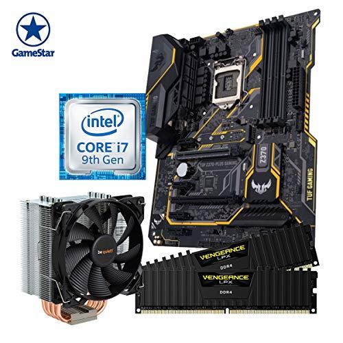 ONE GameStar Upgradekit Ultra Core i7 9700K Aufrüstset | Intel i7-9700K | 16 GB DDR4 Corsair Arbeitsspeicher | ASUS Z370 Mainboard | Be Quiet! Prozessorkühler | Vormontiert | 2 Jahre Garantie