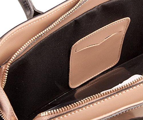 PELLE ITALY Leder Schultertasche PI10087 Damen Handtasche Echt Leder 38x27x11 cm (BxHxT), Farbe:Camel Blau