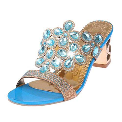 Beautyjourney sandali donna con zeppa estive elegant scarpe donna estive eleganti scarpe donna tacco medio sandali gioiello donna - donna scarpe tacco alto sandali ragazze (39, cielo blu)