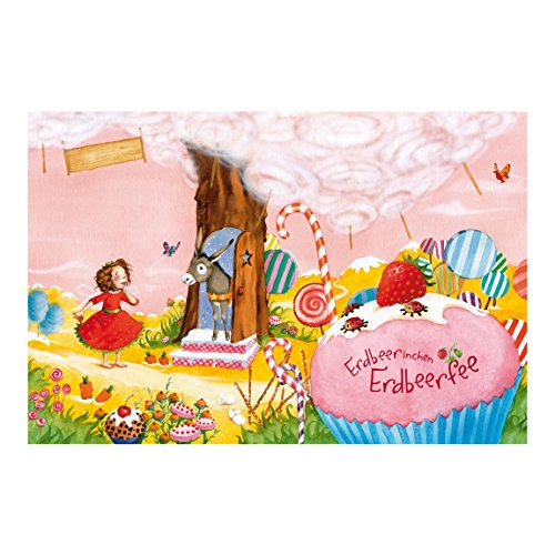 Preisvergleich Produktbild Vliestapete – Fensterbild Erdbeerinchen Erdbeerfee – Schlaraffenland – Wandbild breit
