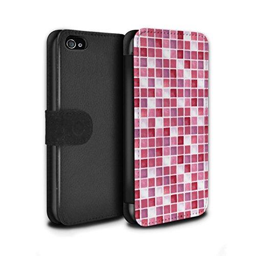 Stuff4 Coque/Etui/Housse Cuir PU Case/Cover pour Apple iPhone 4/4S / Bleu/Turquoise Design / Carreau Bain Collection Rouge/Rose