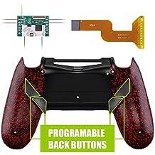 eXtremeRate Dawn Programmierbares Remap Kit für PS4 Controller mit Rückseite Hülle Gehäuse Case&Mod-Chip&4 Rückseiten Tasten-für Playstation 4 JDM 040/050/055(Rot)