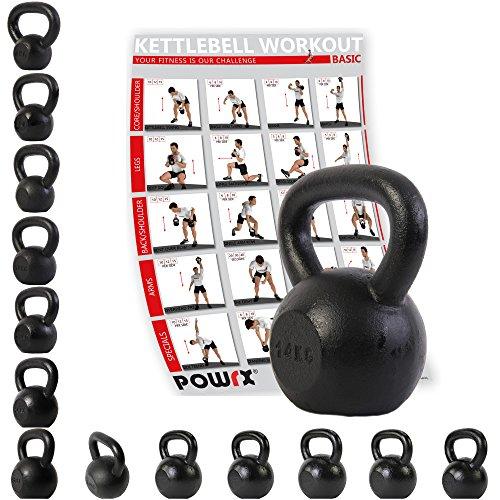 POWRX - Kettlebell ghisa 14 kg + PDF Workout (Nero)