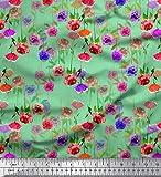 Soimoi Vert Poly Georgette en Tissu Feuilles et Rose Floral Tissus imprimes par Metre 52 Pouce Large