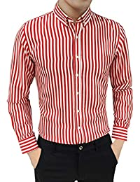 BUSIM Men's Long Sleeve Shirt Suit Buttons Classic Striped Slim Fashion T-Shirt Under Lapel Tops Trends Personality...