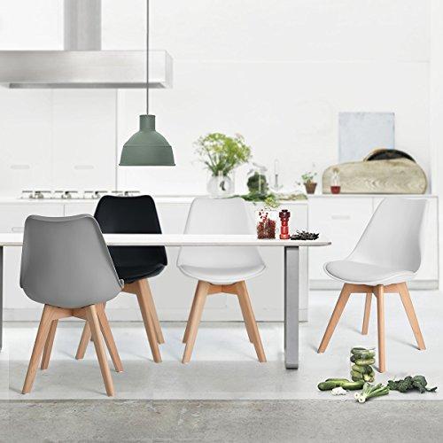Fanilife dise o de tulipanes de juego de 4 sillas de Sillas de cocina con reposabrazos