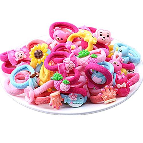 Cuhair Elastische Haarbänder / Haargummis, niedliche Cartoonfiguren, geeignet für kleine Mädchen, für Pferdeschwanz, Haar-Zubehör, 20 Stück