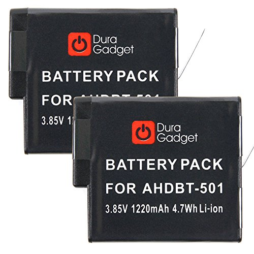 Galleria fotografica 2x Due Batterie Ricaricabile Per GoPro Hero5 Black AHDBT-501 - Alta Qualità - DURAGADGET