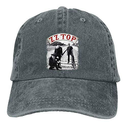 Men's Black Adjustable Vintage Washed Denim Baseball Cap ZZTop Dad Hat Trucker Cap