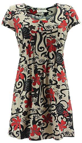 Purplish Strickkleid FLOWERS DRESS 1206 Rot S