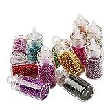 Fangfeen Fai da te manicure della decorazione Gel UV Strumenti Accessori 12 colori 3D Mini Perle di caviale Nails Art Glitters (colore casuale)