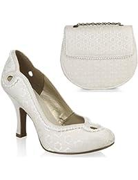 Ruby Shoo Miley brocart Cour Chaussure Pompes et Miami Sac Assorti Crème/gris/rose