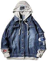 WQ&EnergyMen Mens Hoodie Denim Patchwork Button-Front Vintage Jacket Outwear