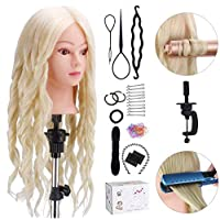 """Training Head, TopDirect 60cm/24"""" 70% Real Hair Cosmetology Hairdressing Mannequin Manikin Doll with DIY Braid Set + Free Table Clamp"""