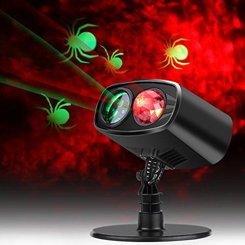 Halloween Projektionslampe, LED Weihnachten Licht Projektor IP65 Wasserdicht innen außen, Mauer Dekoration Spinne Motion, 6 Stunden Timer Effektlicht, Gartenlicht für Festen Party bar, Karneval, Urlaub Dekoration Lichter (Rot Grün Licht) (Halloween Projektor)