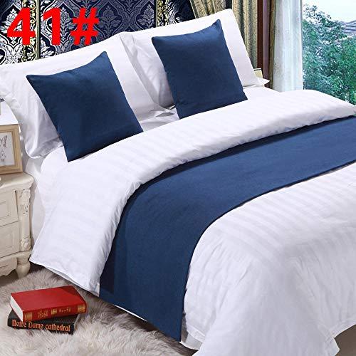 Maibedqi copriletto alberghi corridore da letto bed runner biancheria ualità tinta unita protezione della sciarpa copriletto copriletto fodera letto, blu scuro, 50 cm x 240 cm (letto da 1,8 m