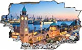 DesFoli Hamburg Stadt 3D Look Wandtattoo 70 x 115 cm Wanddurchbruch Wandbild Sticker Aufkleber C092
