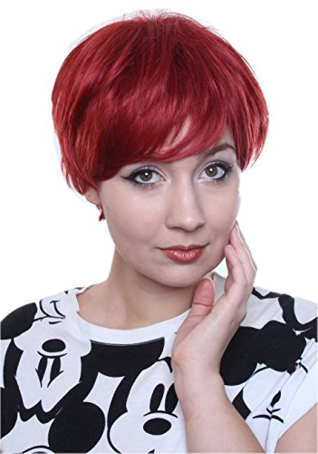 rze Perücke fransiger Stufenschnitt intensive Farbe Party Wig Cosplay - Rot (Kurze Rote Perücke Halloween)