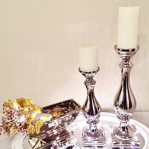 Kerzenleuchter Kerzenständer Kerze Deko Keramik Dekoration Silber Schön (2er Sparset)