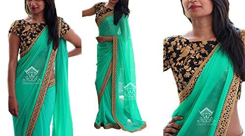 Sarees ( Sea Green Color Georgette Fabric Multiwork Saree, New Arrival Latest...