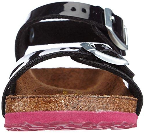 Birkenstock Rio, Sandales mixte enfant Noir (Vernis Noir/Ls Pink)