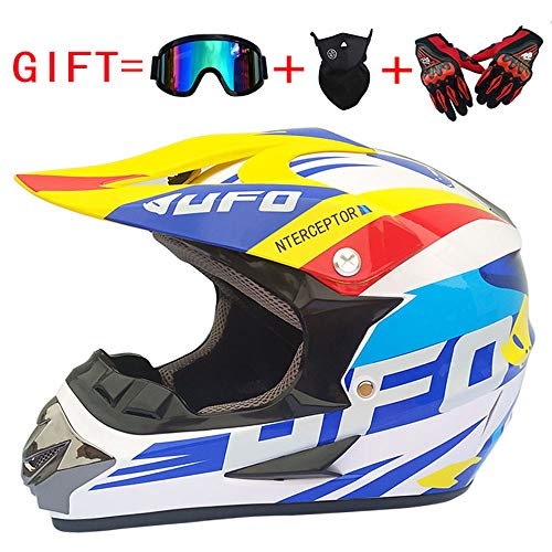 Ltongx Adult Motocross Casco Moto E Adult MX Motocross (Guanti, Occhiali, Maschera, 4 Piece Set),White/UFO,XL