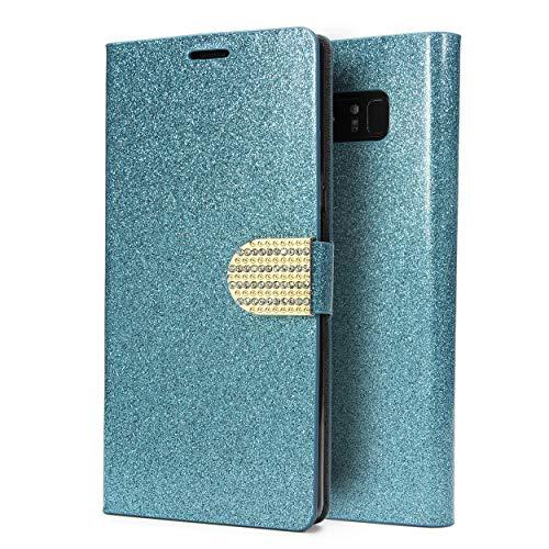 Urcover Bling Glitzer kompatibel mit Samsung Galaxy Note 8 Wallet I Handy Schutz-Hülle I Kartenfach & Standfunktion I Flip-Cover mit Magnet-Verschluss I Case mit Strass-Steinen I Schale Blau