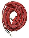 Vox VCC090RD Câble spirale vintage, filet de transport Rouge 9 m