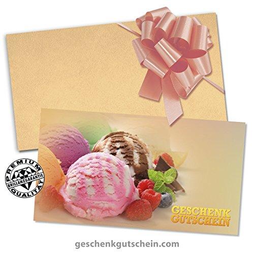 Apfel-minze-kraut (10 Stk. Multicolor-Geschenkgutscheine + 10 Stk. Kuverts + 10 Stk. Schleifen für Eiscafé, Eisdiele G2017)