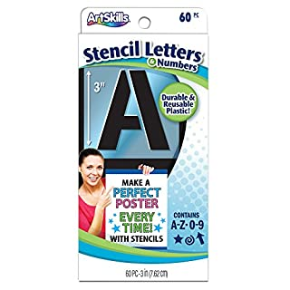 Artskills Reusable Letters, Numbers and Shapes Stencils 3-inch 60/Pkg