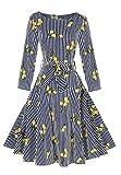 OMZIN floral vintage mujeres vestidos manga larga 1950 Rockabilly Party vestido limón / M